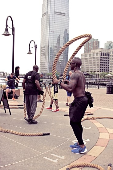Men's Fitness City Challenge Race Jersey City 2015 - Ron Aigle working the massive jump rope!