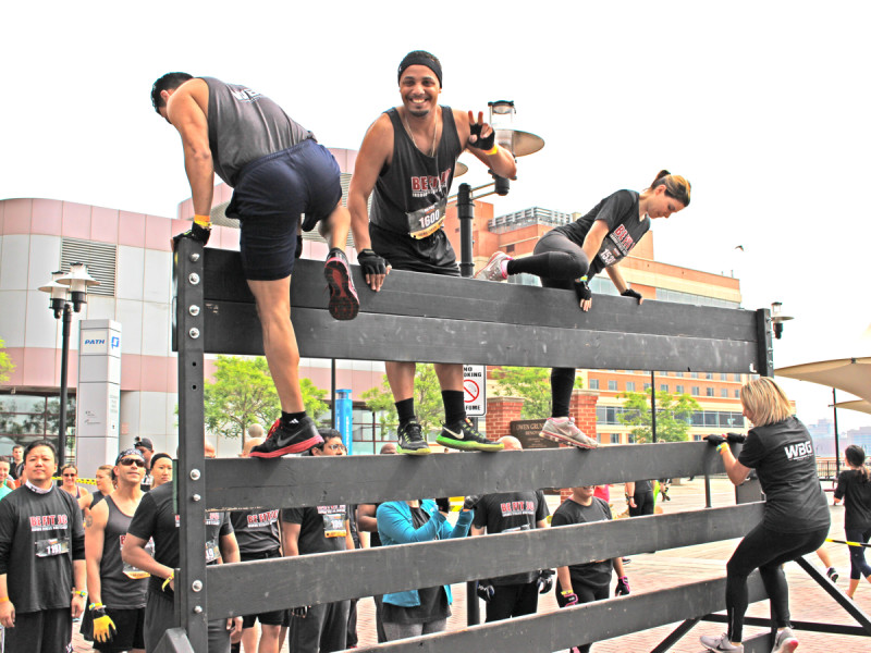 Be Fit JC Men's Fitness City Challenge Race Jersey City May 16 2015 - Scaling the wall!