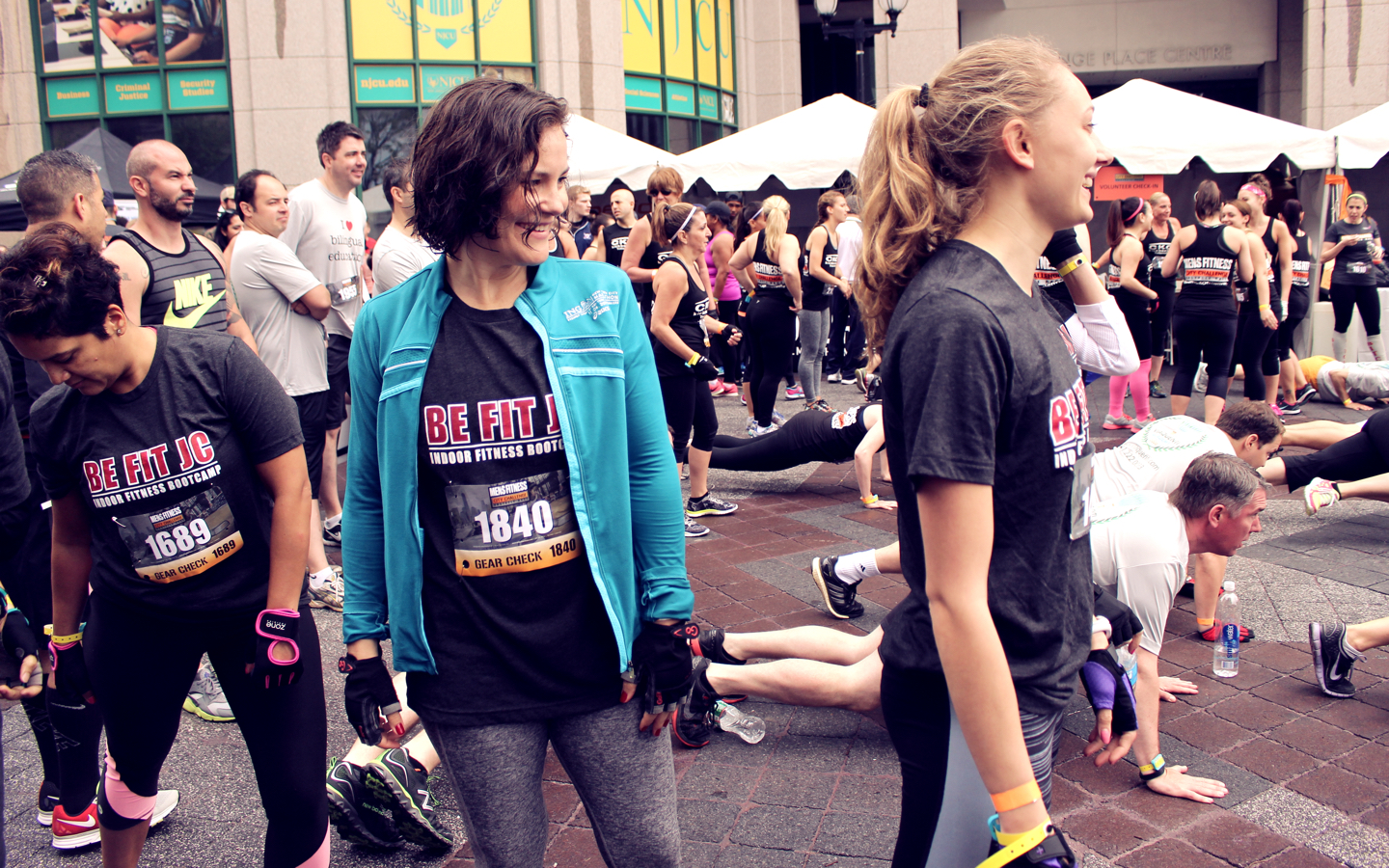 Be Fit JC Men's Fitness City Challenge Race Jersey City May 16 2015 - Warming up with the ladies!